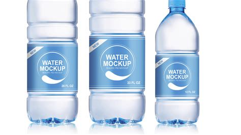 High resolution (4000 x 3000 px). Packreate » Mineral Water Plastic Bottle PSD Mockup - 3 Sizes