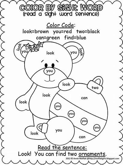 Word Sight Christmas Coloring Colors Words Printable