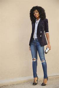 Style Pantry | Velvet Blazer + Striped Shirt + Ripped Jeans