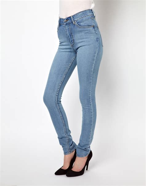 cheap light blue skinny jeans cheap monday high waist skinny jeans in blue lightblue