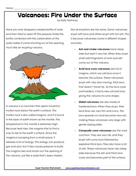 science worksheets volcanoes parts of a volcano printable volcano worksheets places