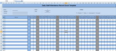 Record Template In Excel by Daily Staff Attendance Record Excel Template Microsoft