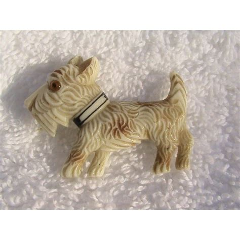 art deco celluloid scottie dog brooch ark collectables