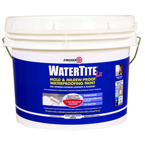zinsser garage floor paint zinsser 3 gal watertite lx low voc mold and mildew proof white water based waterproofing paint