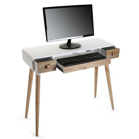 bureau console design table bureau console avec tiroirs design scandinave bois et bois blanc versa treveris 21120024
