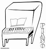 Pages Piano Colouring Key Bord Paino Coloring Template sketch template