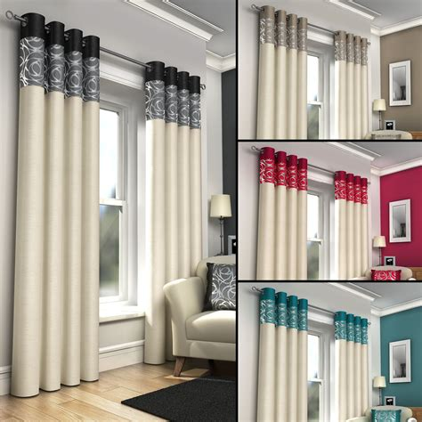 Ring Top Drapery - ring top fully lined pair eyelet ready made curtains