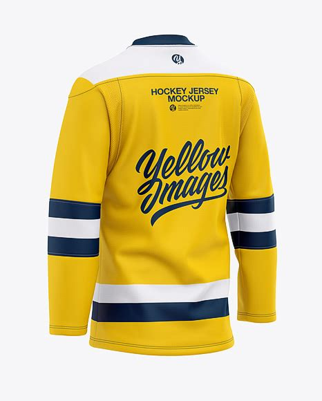 The top free photoshop files from the web. Mens Lace Neck Hockey Jersey Mockup Back Half-Side View ...