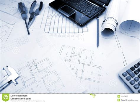 Comp Backgrounds Blueprints Background With Computer And Tools Stock Image