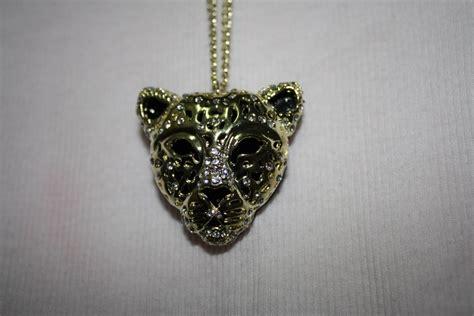 guns  roses cheetah necklace  diamonds