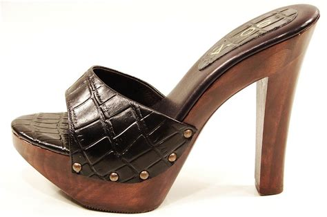 Womens High Heel Wooden Slide Sandals Black Brown
