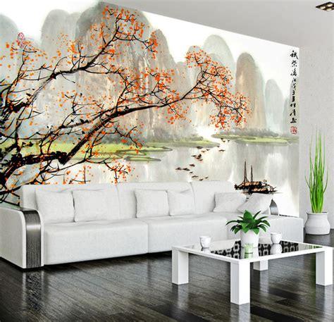 tapisserie chambre bébé garçon tapisserie numérique sur mesure style chinois paysage automne