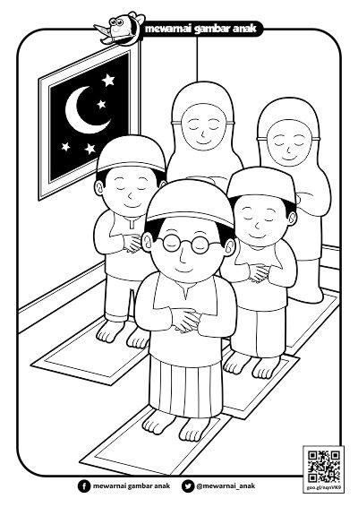 mewarnai gambar anak mewarnai gambar sholat tarawih