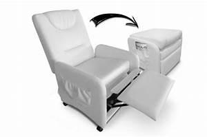 Fauteuil Design Blanc : fauteuil relax blanc avec repose pieds en simili zen ~ Teatrodelosmanantiales.com Idées de Décoration