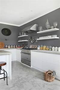 Deco Murale Blanche : d co salon peinture murale de cuisine grise et blanche leading inspiration ~ Teatrodelosmanantiales.com Idées de Décoration