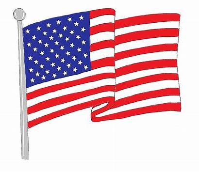 Flag American Waving Clip Cliparts Clipart Patriotic