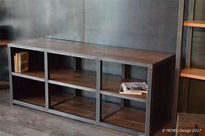 Meuble Hifi Bois : mobilier de style industriel micheli design ~ Voncanada.com Idées de Décoration