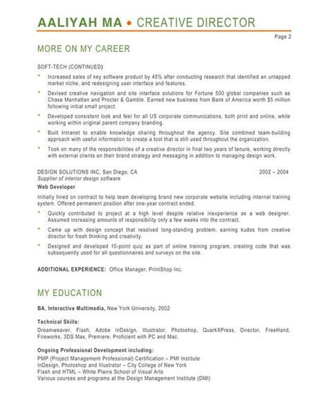 Director Resume by Creative Director Page2 Designer Resume Sles Resume