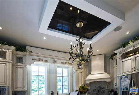 The Stretch Ceiling In The Kitchen by Black High Gloss Stretch Ceiling Gives This