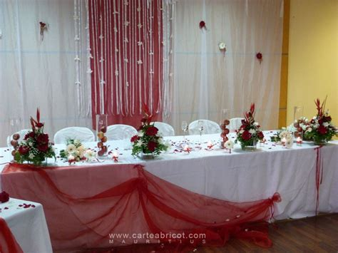 decoration fete deco de table mariage rouge  blanc