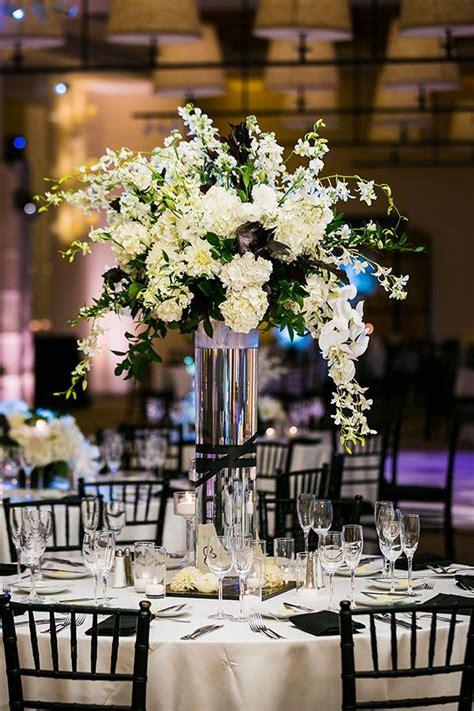 stylish black  white wedding white wedding flowers