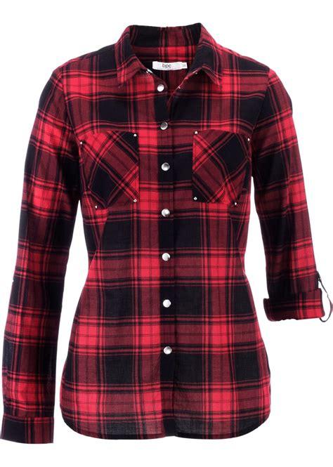 ansprechende bluse mit druckknoepfen rotschwarz kariert