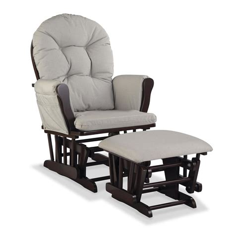 nursery glider chair baby rocker furniture ottoman set gray cushion black wood ebay