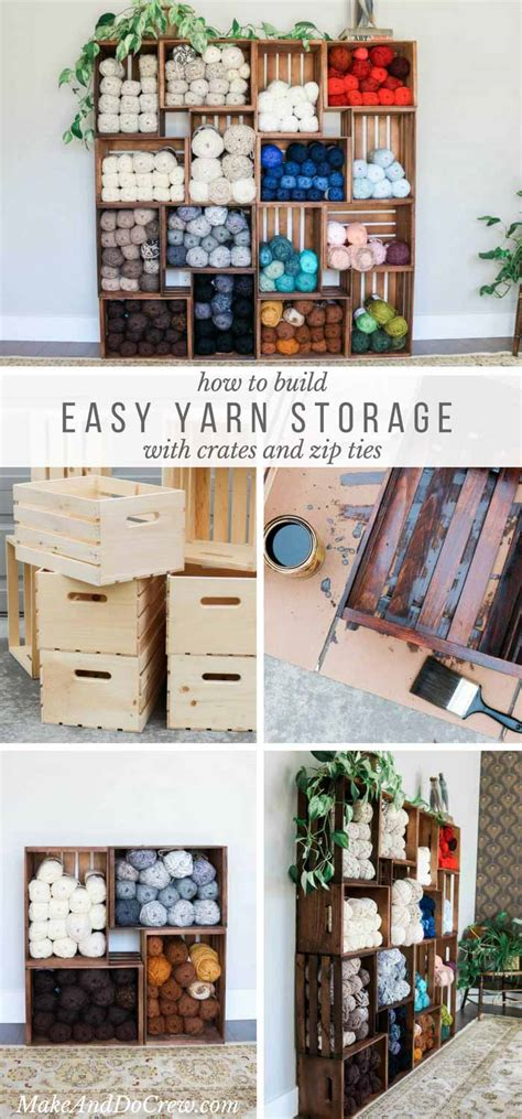 easy diy yarn storage shelves  wooden crates video