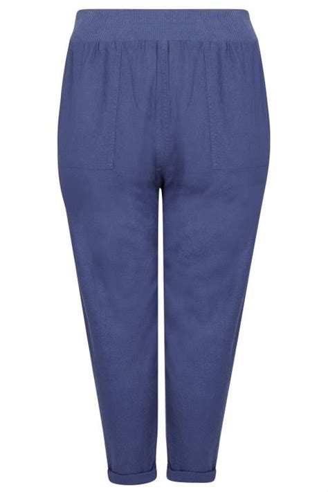 Blue Linen Mix Pull Tapered Trousers With Pockets Plus