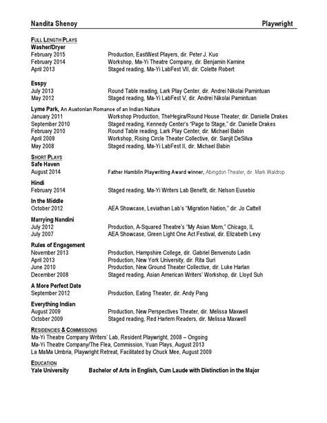 Playwriting Resume by Nandita Shenoy Playwright Resume By Nandita Shenoy Issuu