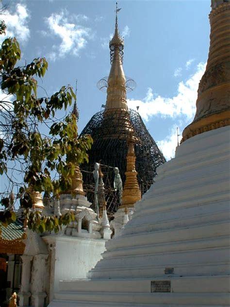 covered pagoda a pagoda under repair covered with bamboo scaffolding at the schwedagon pagoda yangon