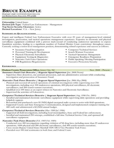 Enforcement Resume Format by Sle Resume Enforcement Sle Resume