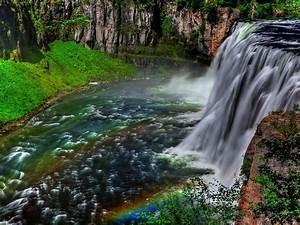 Landscape, Waterfall, Rocks, Trees, Hd, Wallpaper, 142086