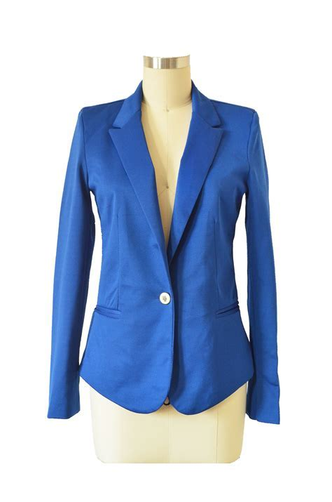 Electric Blue Women's Blazer Jacket With Long Sleeves on