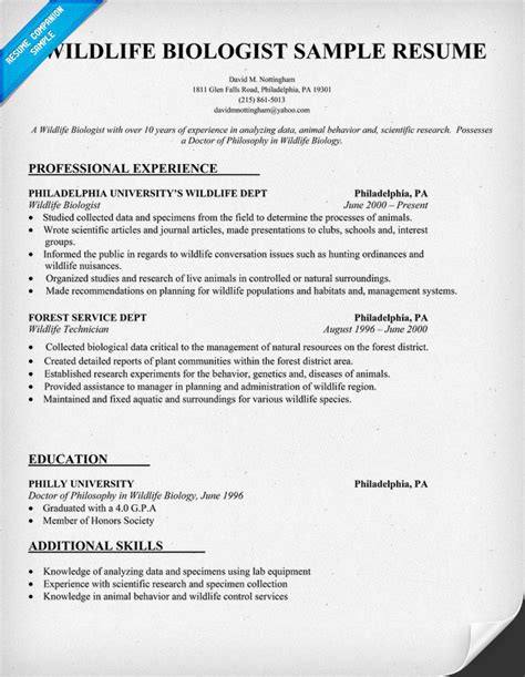 Biology Resumes Templates by Curriculum Vitae Wildlife Biologist Curriculum Vitae