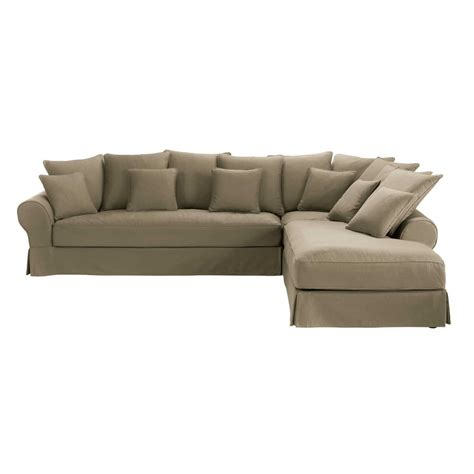 canapé d 39 angle droit 6 places en coton taupe bastide