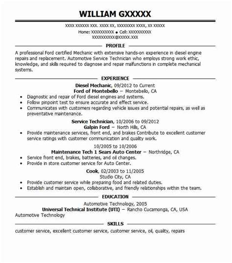 Diesel Mechanic Resume Exles by Diesel Mechanic Objectives Resume Objective Livecareer