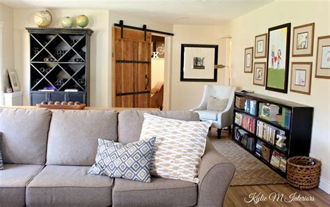 family room decorating ideas, sliding barn door, hardware