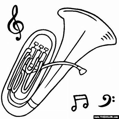 Tuba Coloring Instruments Musical Instrument Pages Drawing