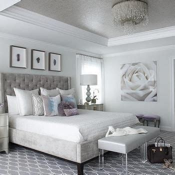 gray  silver bedroom  gray tray ceiling