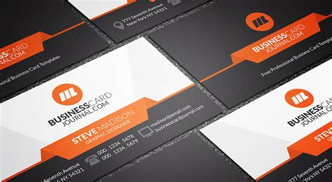 sleek stylish orange accent business card template