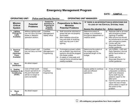 emergency preparedness plan template best photos of program plan outline sle work plan template program plan template and
