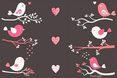 Birds Pink Valentine Clip Bird Clipart Branches