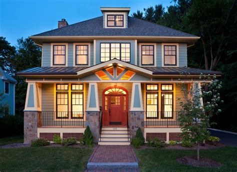 American Foursquare Floor Plans Modern by Modern Bungalow Craftsman Exterior Boston By