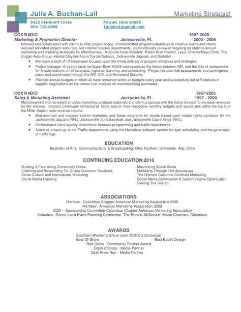Marketing Strategist Resume by Buchan Lail Marketing Strategist Resume Package