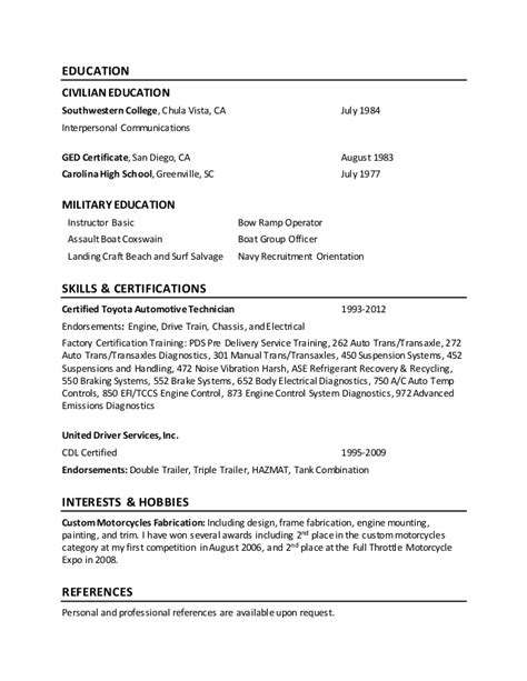 High School Ged On Resume by Dennis Patterson Resume
