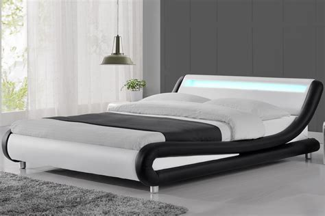 Bed Size by Madrid Led Lights Modern Designer Black White Bed Frame