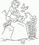 Belle Coloring Princess Pages Disney sketch template