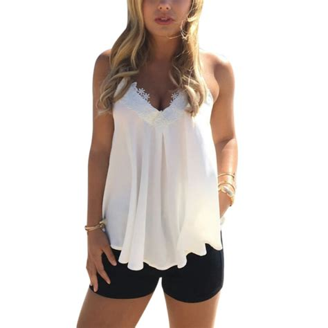 summer tops and blouses fashion lace vest top sleeveless casual tank blouse