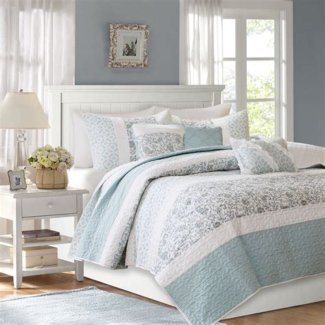 Blue Coverlet by Beautiful Modern Chic Light Blue Green White Shabby
